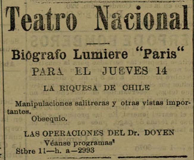 Aviso que anuncia el estreno del filme La riquesa de Chile (sic) en el diario El Industrial de Antofagasta (13 de septiembre de 1905).